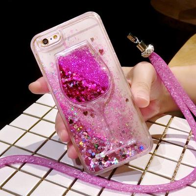 苹果iphone5s 6s 7液体流沙流动酒杯水晶挂绳6plus防摔手机壳SE女