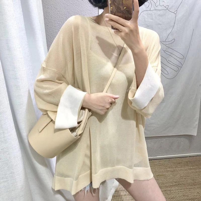 F và z đầu mùa thu thích hợp nhẹ nhàng màu sắc tương phản tay áo rộng cạnh màu vòng cổ áo len lỏng t