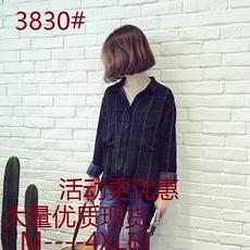3830#韩版复古格子宽松显瘦中长款棉麻长袖衬衫女休闲衬衣秋潮