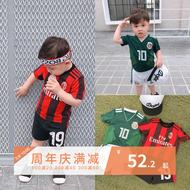 LUSON Mẹ Boy Bóng Đá Jersey Thể Thao Phù Hợp Với Mùa Hè Trẻ Em Sọc Cao Cổ Top World Cup Bé Jersey