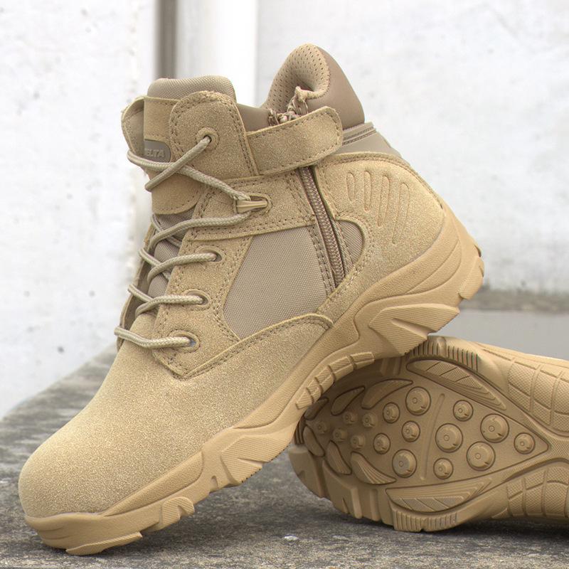 Ngoài trời giày quân đội fan boots của nam giới lực lượng đặc biệt khởi động chiến thuật thấp để giúp bay khởi động sa mạc đi bộ đường dài chống sốc da sneakers