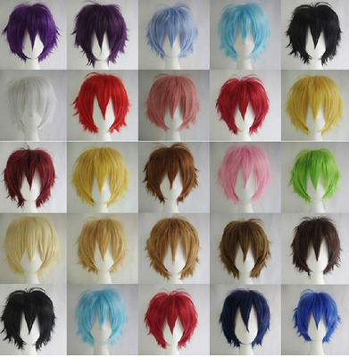 taobao agent Anime short hair show anti-warping universal | black and white brown gray orange mixed color high temperature silk cos wig