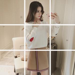 2016秋装新款韩版纯色甜美爱心长袖套头圆领毛衣百搭显瘦针织