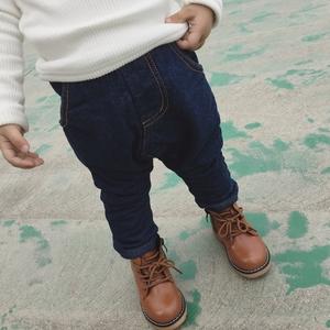 馨馨童装 16冬装男女宝宝儿童加绒加厚哈伦裤小童PP牛仔裤长裤