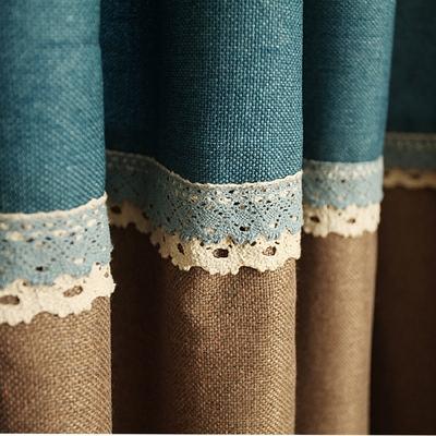 韩式地中海蓝色 棉麻遮光纯色窗帘 儿童房客厅卧