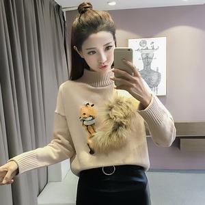 2069秋冬韩版宽松加厚半高领套头毛衣女印花针织衫打底衫长袖上衣