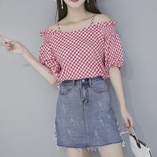2018夏季新款两侧绑带牛仔裙修身包臀裙T台半身裙