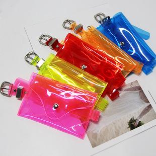 Внешняя торговля личность пластик прозрачный хорошо ремень мобильный телефон карман PVC женщины кожаный ремень декоративный пряжка мисс карман