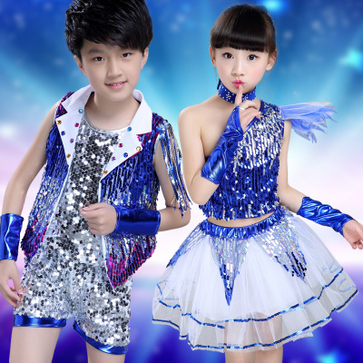 5ef4326e9 Children s Day jazz dance costumes girls sequins modern dance ...