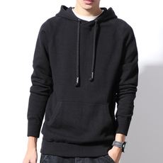 [Z5109 P70]~模特白墙~男士纯色连帽套头大码针织毛衣(M-6XL)黑