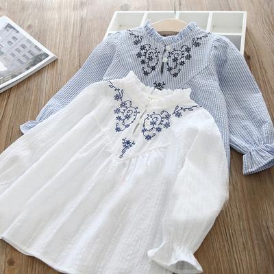 春秋季新款女童衬衫宝宝上衣 童装娃娃衫长袖套头衫儿童T恤