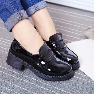 taobao agent JK Japan Academy Female High School Students Black Leather Shoes COS Anime Festival Play Round Head Maid Uniform