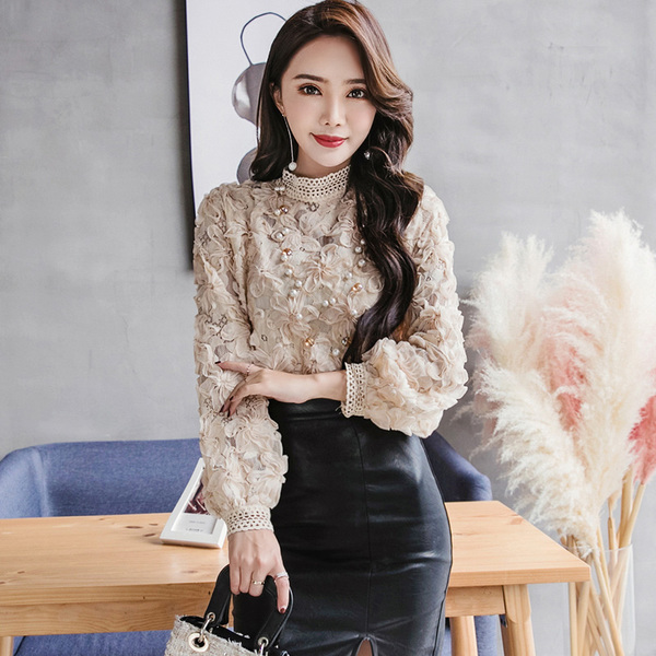 Two-Piece Dress New Romantic Three-Dimensional Flower Lace Shirt With Skirt Dress