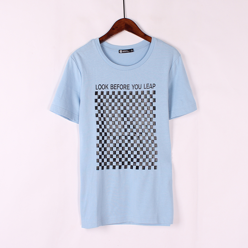 Nam ngắn tay cổ tròn in áo thun mùa hè mới thời trang giản dị bông t- shirt Hàn Quốc phiên bản của áo sơ mi vài thủy triều