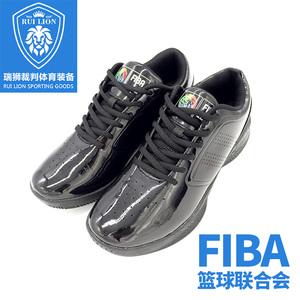 FIBA Champions League sáng màu đen bằng sáng chế da đen người đàn ông trọng tài giày nam giày bóng rổ trọng tài đặc biệt giày