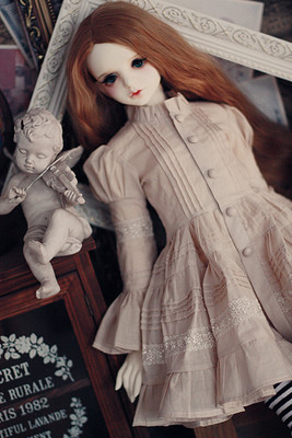 taobao agent 【endless】2 points bjd/sd large female size dress suit ghost two female beige temperament dress