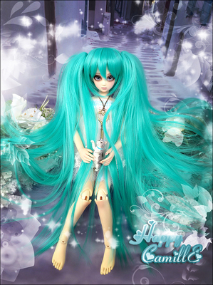 taobao agent BJD DD Wig SD Baby Hair 4 Points 3 Points Tiger Card Long Straight Double Whip Style Hatsune MIKU Green 1/4,1/3