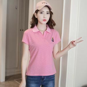 Trung niên nữ mùa hè ngắn tay t-shirt mẹ thể thao cổ áo loose shirt kích thước lớn sọc ladies ve áo polo áo sơ mi