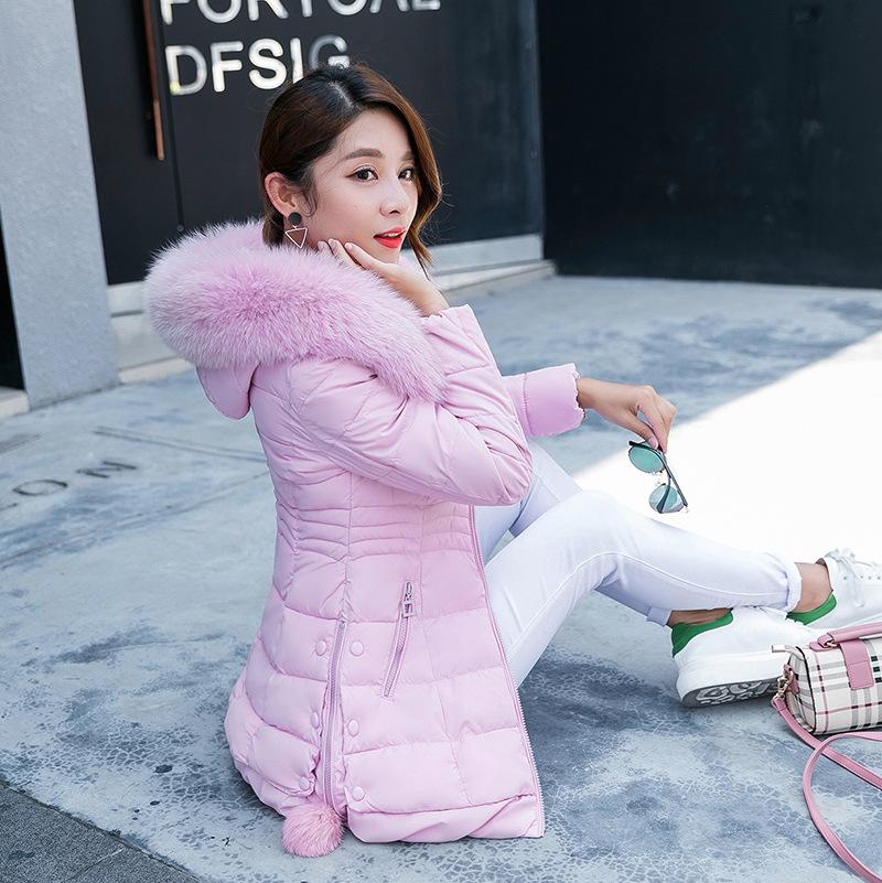 Chống mùa lớn cổ áo lông bông của phụ nữ dài mùa đông bông phù hợp với Hàn Quốc phiên bản của mỏng dày áo khoác mùa đông nữ giải phóng mặt ...