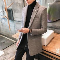 25%羊毛呢大衣男韩版中长款呢子大衣风衣外套冬