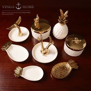 Современный простой нордический керамика ювелирные изделия ювелирные изделия ожерелье ювелирные изделия лоток маленький золотой животное хранение блюдо творческий украшение