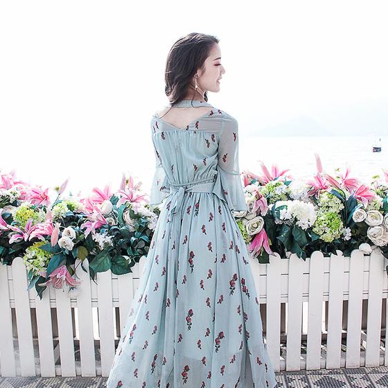 好质量(现货)时光情书—春之白日梦蔷薇花语短袖雪纺连衣裙