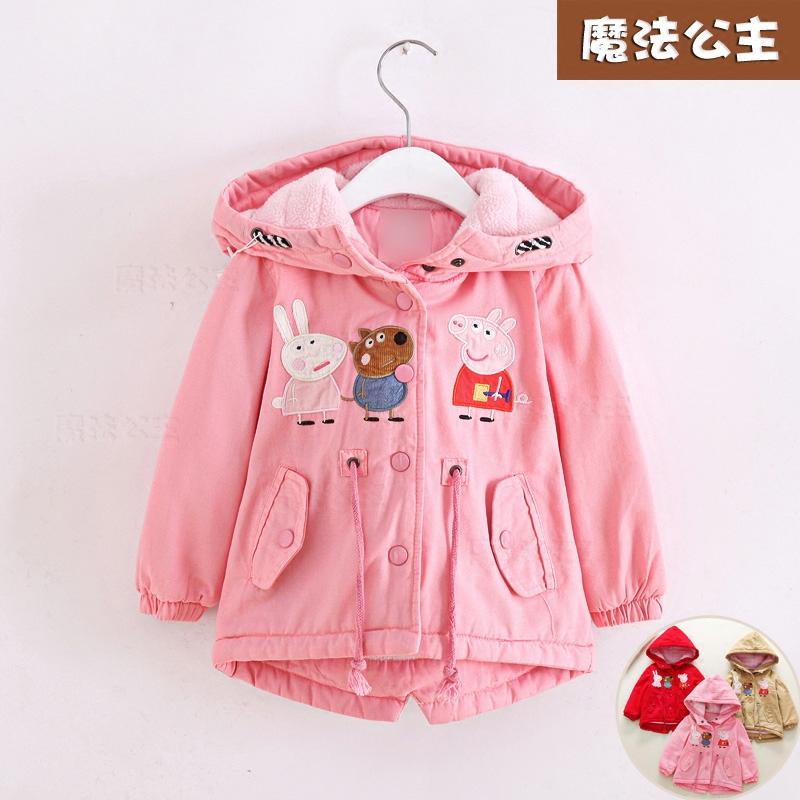 bfba23fe4a1 Зазор детские пальто девушки зимнее пальто корейской версии плюс бархатные  толстые хлопка-ватник детская одежда стеганые пальто куртка 90-130см