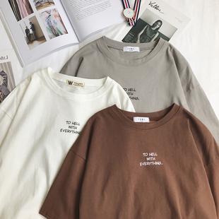 2020 лето мужской простой случайный алфавит круглый вырез с коротким рукавом T футболки свитер мужчина свободный небольшой свежий tee