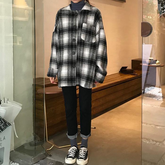 实拍实价黑白格子衬衫外套长袖宽松格子衫加厚打底衬衣9372已检测
