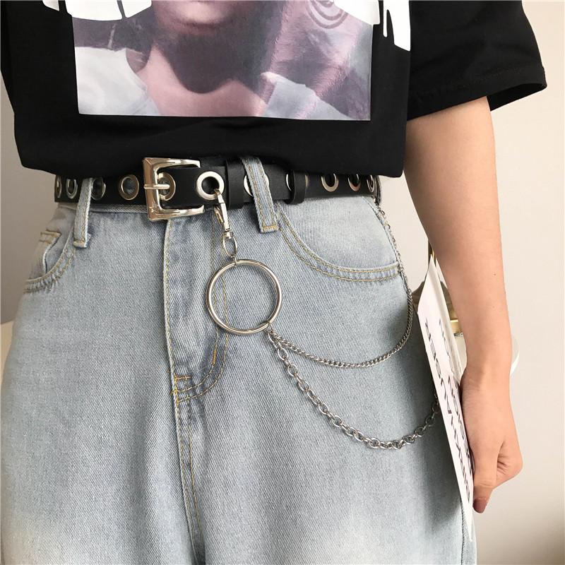 欧美摇滚圆圈链条全是孔的皮带女简约百搭朋克风凹造型裤腰带复古