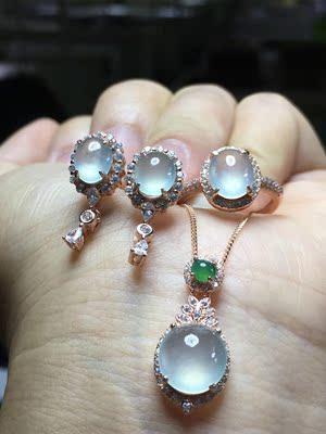 s925银镶嵌 缅甸天然翡翠a货 三件套戒指耳钉吊坠 冰种玉石首饰