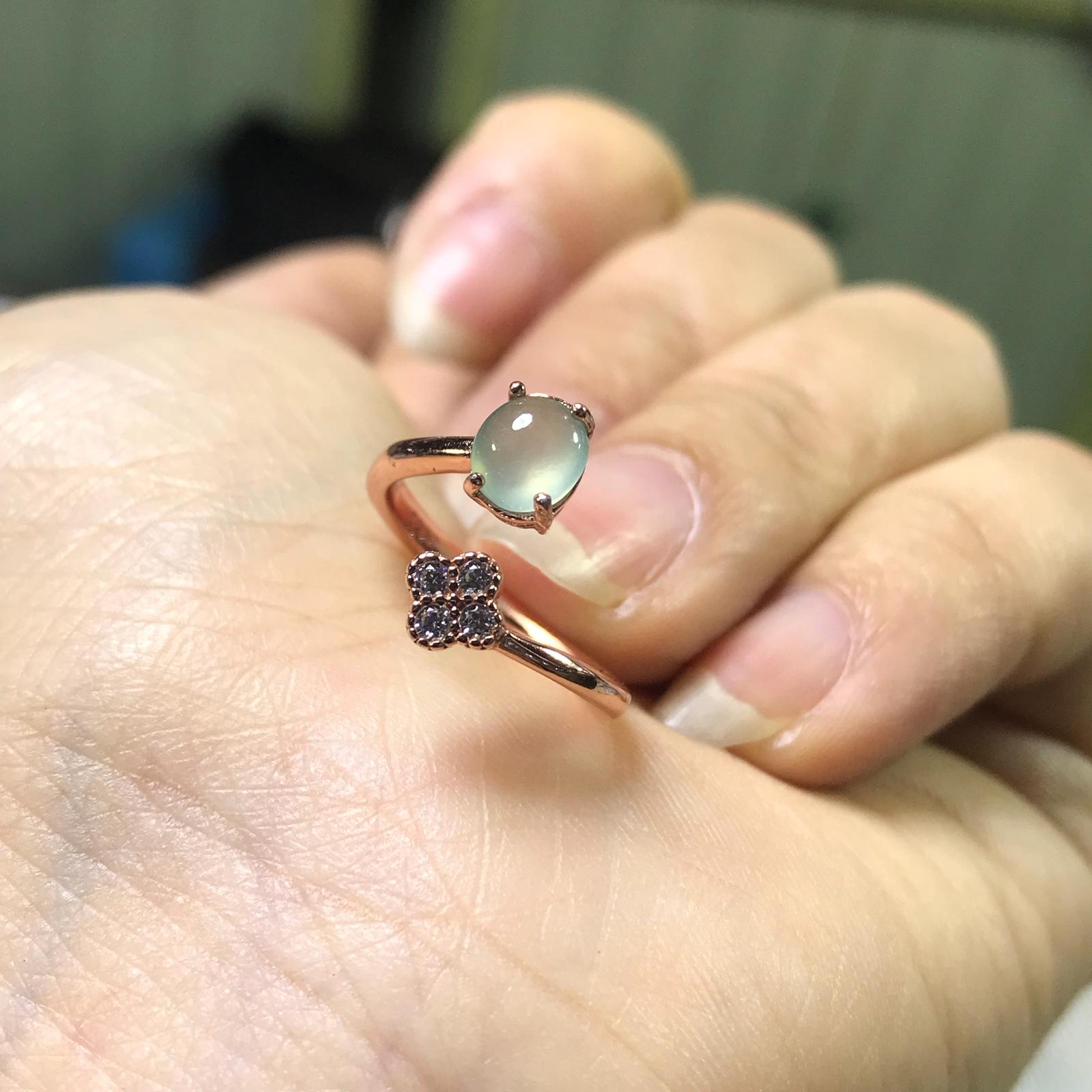 s925银镶嵌 缅甸天然翡翠A货戒指女指环 冰种玉石珠宝 送礼佳品