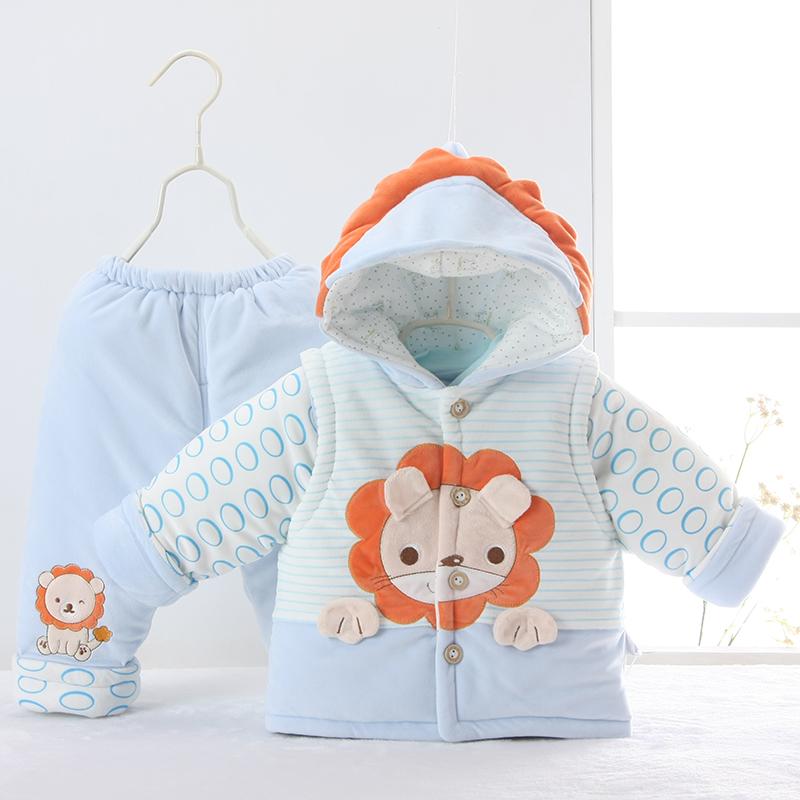 爱之藤冬季棉袄冬婴儿套装加绒加厚新生儿棉衣0-2岁男女宝宝棉服