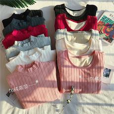 实拍实价韩国修身加绒加厚坑条竖纹长袖针织T恤超柔绒保暖打底衫