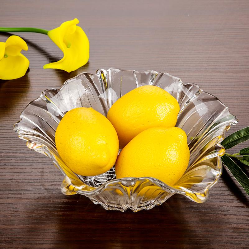 大号简约水晶玻璃果盘 欧式现代创意 客厅家用干果糖果水果盘子