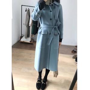 [Peach Home Dingjin District] Hàn Quốc phiên bản của khí smog màu xanh eo thắt lưng áo khoác phần dài là áo khoác mỏng nữ