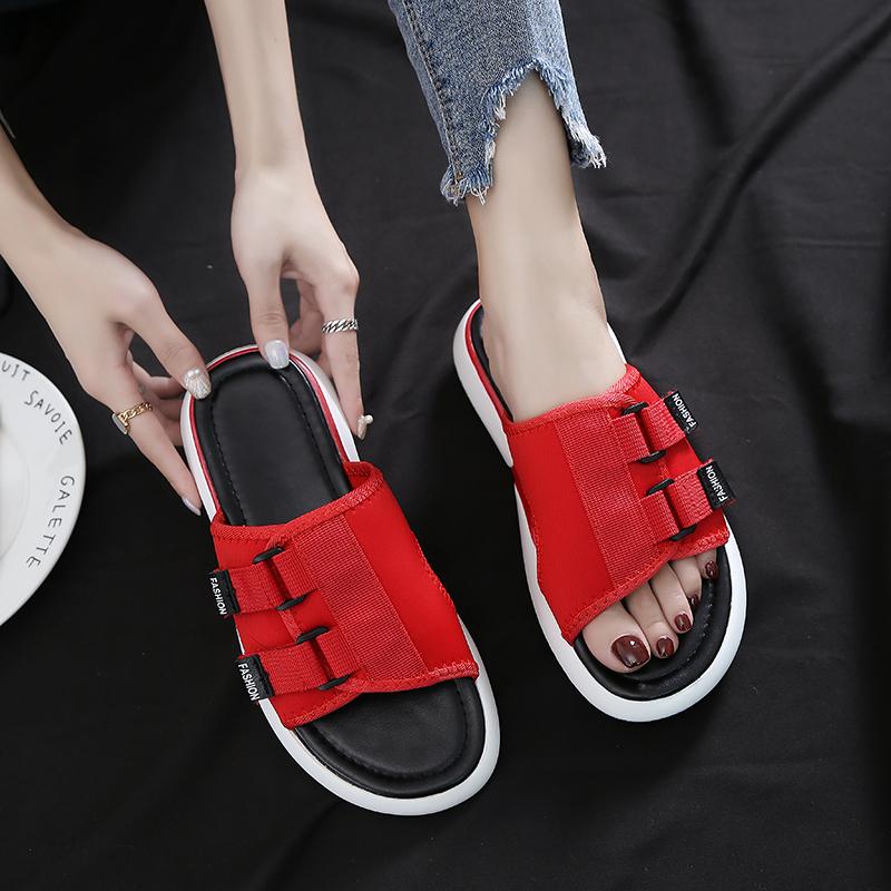 2018夏季新款拖鞋女韩版百搭厚底松糕时尚潮chic外穿两穿网红凉拖