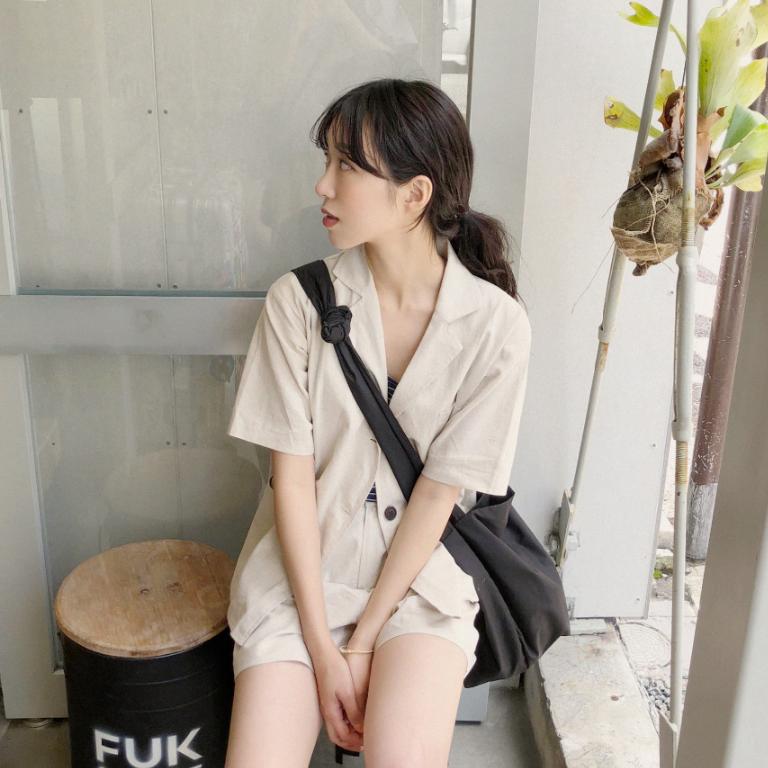 Mùa hè Hàn Quốc phong cách chic lỏng mỏng ngắn tay phù hợp với áo khoác khí hoang dã ba nút cardigan áo sơ mi giản dị phụ nữ