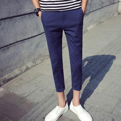 Tám quần nam hoang dã quần nam mỏng của Hàn Quốc phiên bản của xu hướng của quần vải quần âu sinh viên Slim chân 8 quần