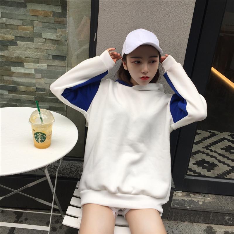 Mùa thu của phụ nữ Hàn Quốc phiên bản của Harajuku phong cách tay áo màu sắc phù hợp với sinh viên dài tay cộng với nhung trùm đầu áo len những người yêu thích áo sơ mi