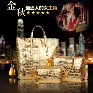 Новый европа и америка приток золото рук упоминание плечо посланник большая мода мешки крокодил картина набор из трёх частей сумки