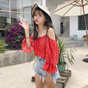 实拍质检~韩国chic甜美减龄小爱心波点露肩喇叭袖一字领吊带衬衫