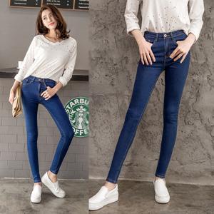 韩版牛仔裤女修身长裤高腰显瘦女裤九分小脚弹力黑色铅笔裤子蓝色