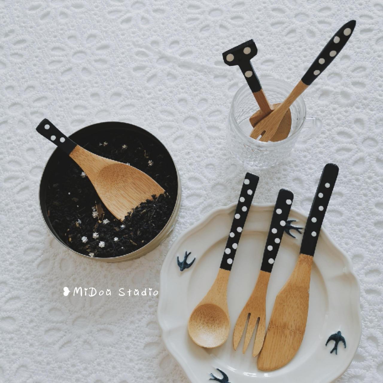 Spot Gỗ tự nhiên Nhật Bản dễ thương sóng nước ngọc bích tay làm cà phê thìa tráng miệng nĩa thìa trà dao kéo - Đồ ăn tối