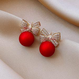 红色耳坠2020年新款潮耳环女蝴蝶结珍珠耳饰气质圣诞耳饰新年耳钉