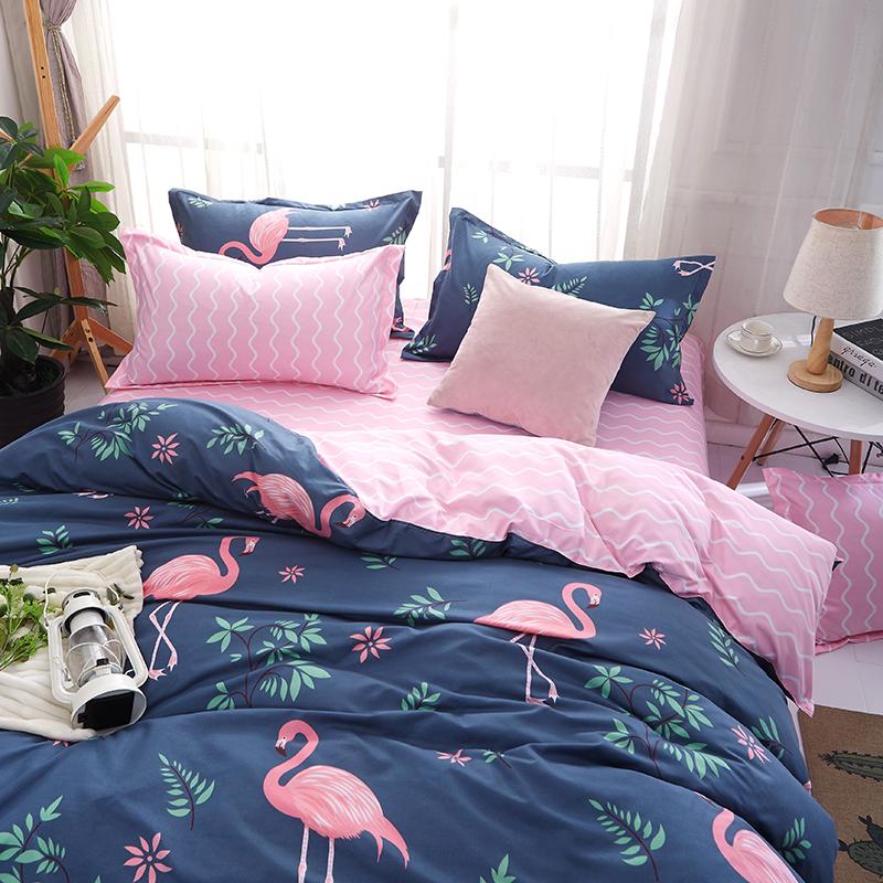 Ins flamingo bốn mảnh đơn giản giường 1.8 m sheets 4 ký túc xá sinh viên 1.2 quilt ba mảnh