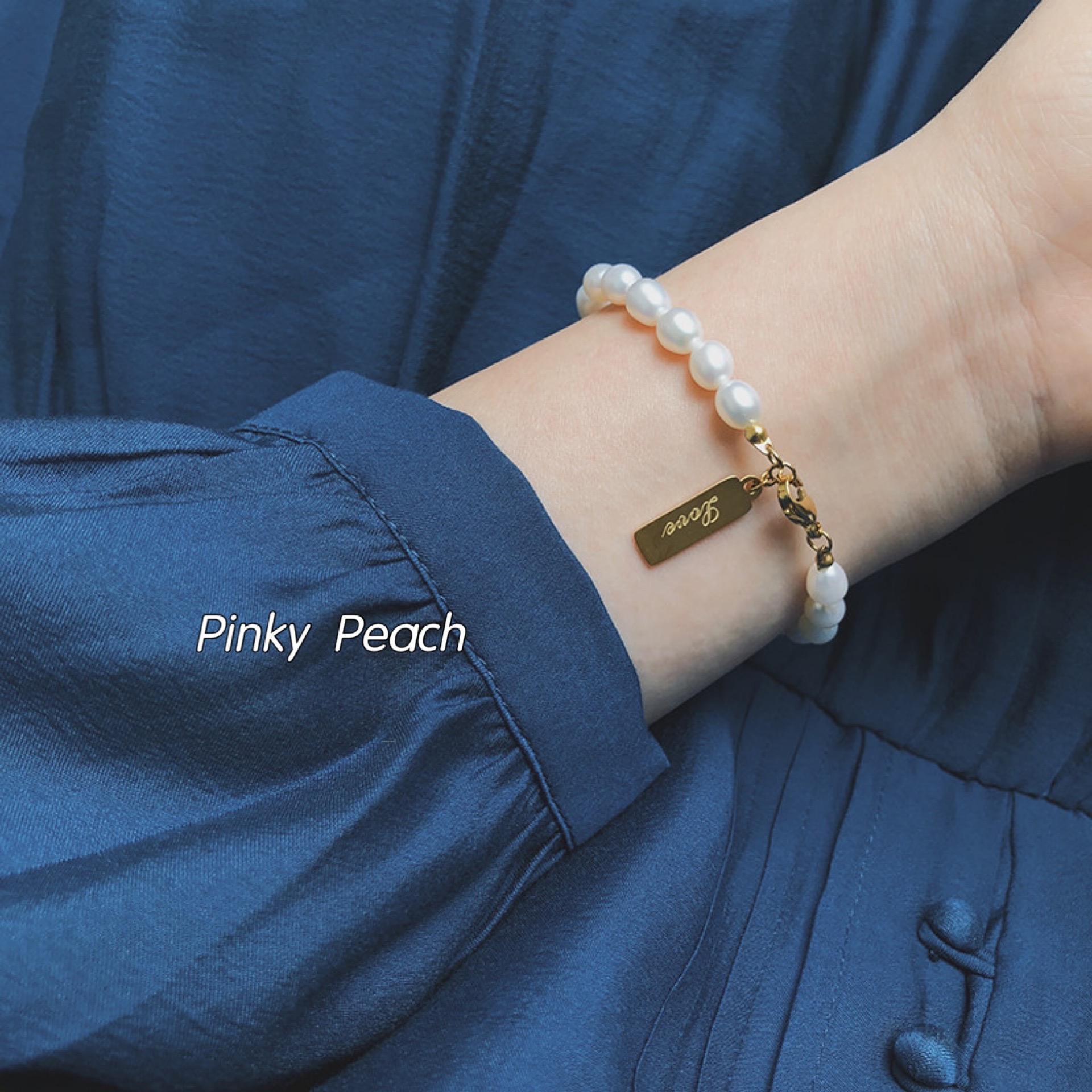 百搭复古法式天然淡水珍珠love手链钛钢不易掉色手环