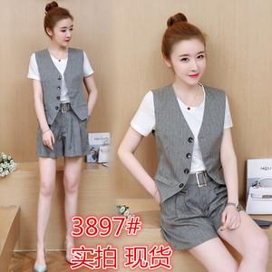 2018韩版夏装新款女时尚西装短款马甲套装chic复古港味棉麻套装