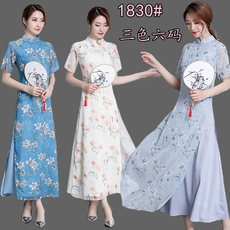 2018中国风复古女装中式修身改良旗袍奥黛上衣茶服连衣裙 1830#