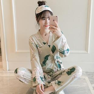 睡衣女春秋韩版纯棉长袖套装
